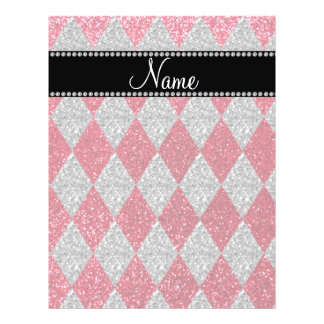 Personalized name crimson red glitter argyle flyer