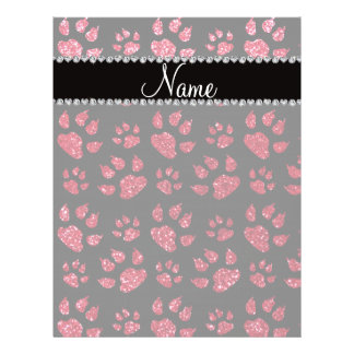 Personalized name crimson red glitter cat paws personalized flyer
