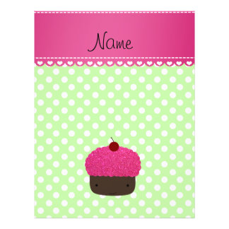 Personalized name cupcake green polka dots full color flyer