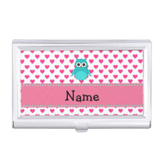 Personalized name cute owl pink hearts business card holder