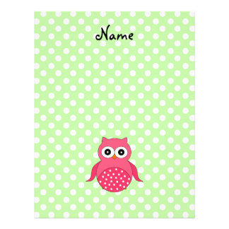 Personalized name cute pink owl flyers