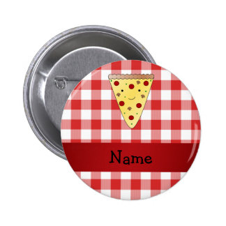 Personalized name cute pizza red checkered 6 cm round badge