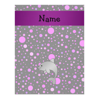 Personalized name dolphin purple polka dots flyer design