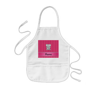 Personalized name elephant pink hearts and stripes kids apron