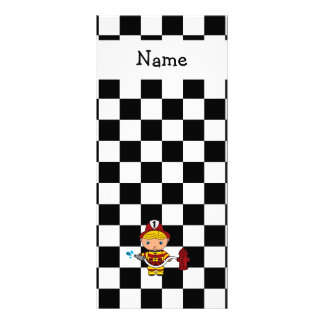 Personalized name fireman black and white checkers rack card