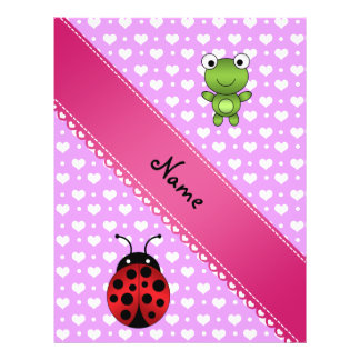 Personalized name frog and ladybug purple hearts full color flyer