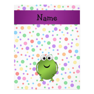Personalized name frog rainbow polka dots flyers
