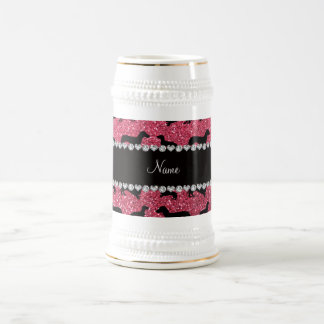 Personalized name fuchsia pink glitter dachshunds beer stein