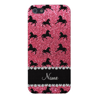 Personalized name fuchsia pink glitter horses iPhone 5/5S cover