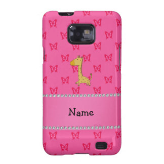 Personalized name giraffe pink butterflies samsung galaxy SII cases
