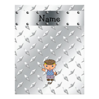 Personalized name golf player silver diamond plate full color flyer