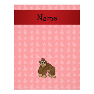 Personalized name gorilla red christmas trees flyer