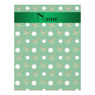 Personalized name green baseball personalized flyer