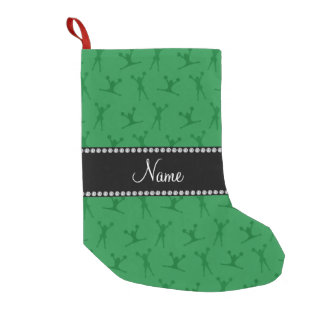 Personalized name green cheerleader pattern small christmas stocking