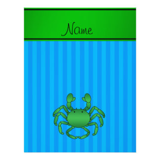 Personalized name green crab blue stripes personalized flyer