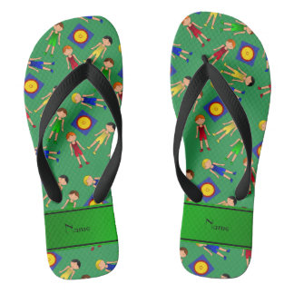 Personalized name green cute boy wrestlers mat jandals