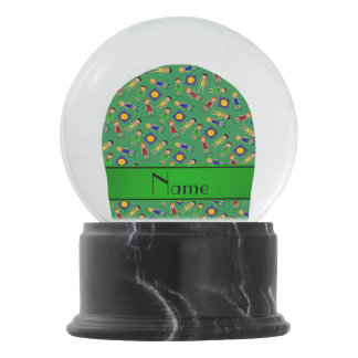 Personalized name green cute boy wrestlers mat snow globe