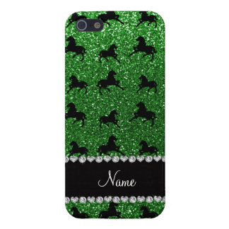 Personalized name green glitter horses iPhone 5/5S case