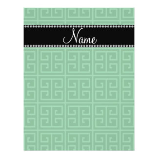 Personalized name green greek key pattern full color flyer