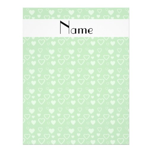Personalized name green hearts flyers