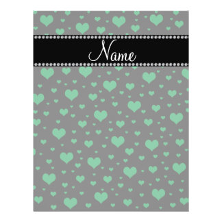Personalized name green hearts full color flyer