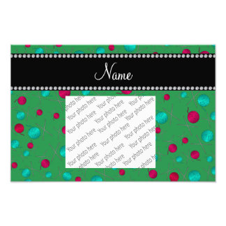 Personalized name green knitting pattern photo art