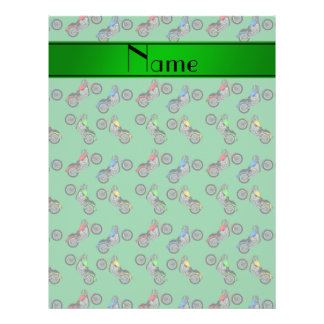 Personalized name green motorcycles 21.5 cm x 28 cm flyer