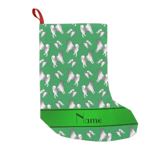Personalized name green Norwegian Elkhound dogs Small Christmas Stocking