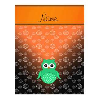 Personalized name green owl black pumpkins custom flyer