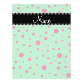 Personalized name green pink polka dots 21.5 cm x 28 cm flyer