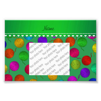 Personalized name green rainbow yarn balls photo print