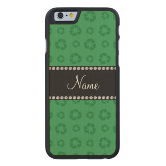 Personalized name green recycling pattern carved® maple iPhone 6 slim case