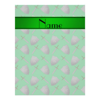 Personalized name green shields and swords flyer