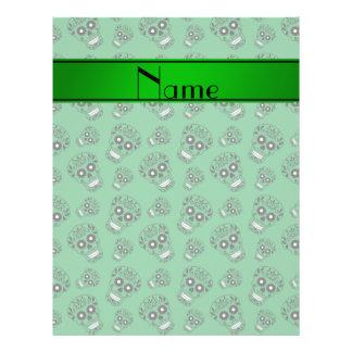 Personalized name green sugar skulls flyer design