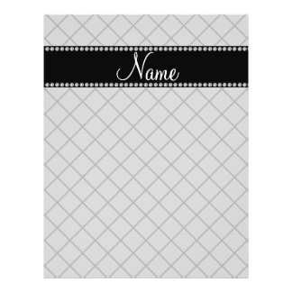Personalized name grey grid pattern flyer design