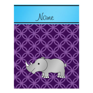 Personalized name grey rhino purple circles flyers