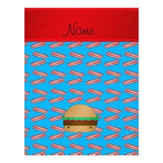 Personalized name hamburger blue bacon pattern flyers