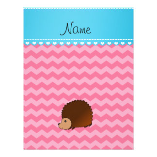 Personalized name hedgehog pink chevrons custom flyer