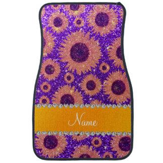 Personalized name indigo purple glitter sunflowers car mat