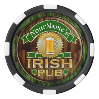 Personalized Name Irish Pub Sign St. Patrick's Day Set Of Poker Chips