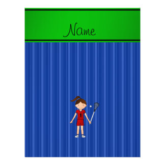 Personalized name lacrosse girl blue stripes custom flyer