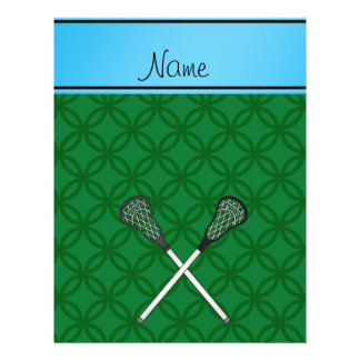 Personalized name lacrosse sticks green circles flyers
