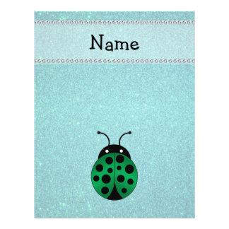 Personalized name ladybug turquoise glitter custom flyer