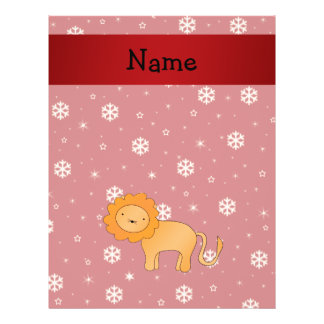 Personalized name lion red snowflakes full color flyer