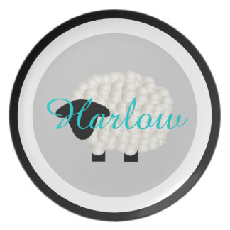 Personalized Name Little Lamb Melamine Plate