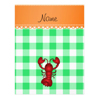 Personalized name lobster green checkers flyer