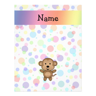Personalized name monkey rainbow polka dots full color flyer