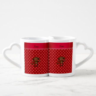 Personalized name monkey red hearts couple mugs