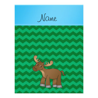 Personalized name moose green chevrons full color flyer