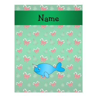 Personalized name narwhal green candy canes bows flyers